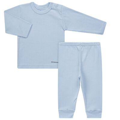 Imagem 1 do produto Pijama longo para bebe canelado Azul - Dedeka - DDK0840/25 Conjunto Canelado Azul-G
