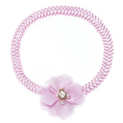Imagem 1 do produto Faixa de cabelo trançada Flor Pérolas & Strass Rosa - Roana