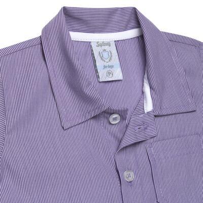 Imagem 2 do produto Camisa para bebe em tricoline Listras - Sylvaz - SZ1127 CAMISA LISTRAS MC ROXO-M