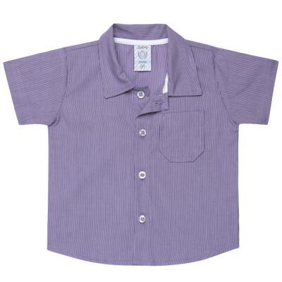 Imagem 1 do produto Camisa para bebe em tricoline Listras - Sylvaz - SZ1127 CAMISA LISTRAS MC ROXO-3