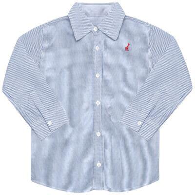 Imagem 1 do produto Camisa para bebe em tricoline listrado azul - Toffee - 1214C89660 CAMISA ML TECIDO AZ-3