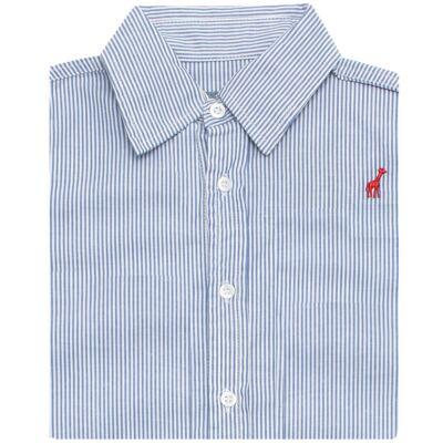 Imagem 2 do produto Camisa para bebe em tricoline listrado azul - Toffee - 1214C89660 CAMISA ML TECIDO AZ-3