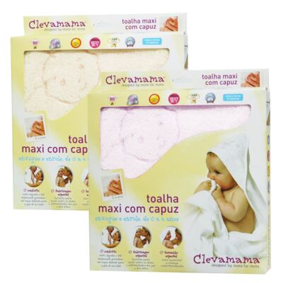 Imagem 1 do produto Kit: 2 Toalhas Max Splash & Wrap Creme e Rosa - Clevamama