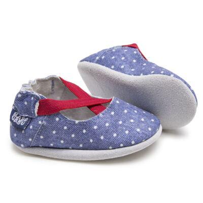 Imagem 2 do produto Sapatilha para bebe em couro Eco Mary Jane - Babo Uabu - BABO37 Sapatilha Mary Jane Jeans Poá Pink-0-6 meses