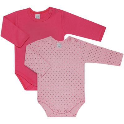Imagem 1 do produto Kit 2 Bodies longos para bebe Pink Little Hearts - Vicky Lipe - LTPBML02 PACK 2 BODIES ML CORAÇÃO ROSA BB/PINK-RN