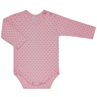 Imagem 2 do produto Kit 2 Bodies longos para bebe Pink Little Hearts - Vicky Lipe - LTPBML02 PACK 2 BODIES ML CORAÇÃO ROSA BB/PINK-RN
