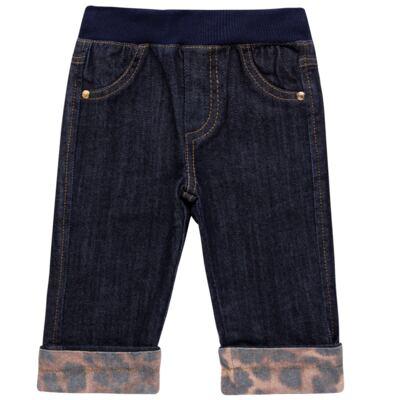 Imagem 1 do produto Calça para bebe jeans c/ cós em ribana e barra dobrável - Grow Up - 03060163.0058 CALCA DENIM FEM FORRADA JEANS-P