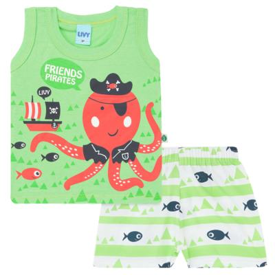 Imagem 1 do produto Regata com Shorts em tactel Green Pirate - Livy