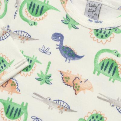 Imagem 2 do produto Body longo para bebe em suedine Dinossauros - Vicky Lipe - 03120001.34 BODY M/L - SUEDINE-RN
