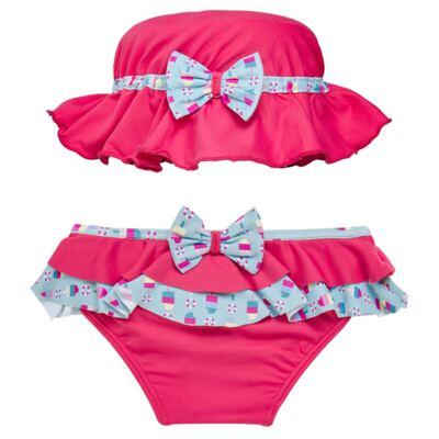 Imagem 1 do produto Conjunto de banho Sweet Candy: Biquini + Chapéu - Dedeka - DDK17433/L17 Calcinha e Chapeu Rosa Pink-3