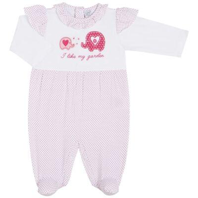 Imagem 1 do produto Macacão longo para bebe em viscolycra Little Cute - Vicky Lipe - 21241362 MACACAO ML BABADOS DOURADO ELEFANTINHO -P