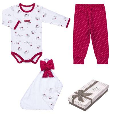 Imagem 1 do produto Kit Maternidade para bebe Noblesse: Body longo + Calça (mijão) + Naninha em suedine - Dedeka - DDK16062 Kit Body Longo com Calça e Naninha Noblesse-RN