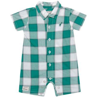 Imagem 1 do produto Macacão Polo para bebe em tricoline Xadrez Verde/Branco - Toffee - 30GP0001.319 MACACÃO M/C GOLA POLO - TRICOLINE-9-12