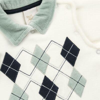 Imagem 2 do produto Macacão longo para bebe em plush Argyle - Anjos Baby - AB171129.006 MACACAO LONGO MASC T12-G