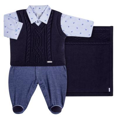 Imagem 1 do produto Jogo Maternidade para bebe: Macacão Camisa, Colete e Manta em tricot David - Beth Bebê
