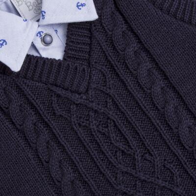 Imagem 3 do produto Jogo Maternidade para bebe: Macacão Camisa, Colete e Manta em tricot David - Beth Bebê