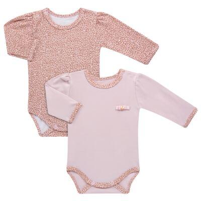 Imagem 1 do produto Kit 2 Bodies longos para bebe em suedine Leopard Print - Grow Up - 09100095.0002 KIT 2 BODIES PRINCESS ML ROSA-RN