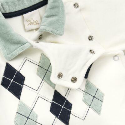 Imagem 3 do produto Macacão longo para bebe em plush Argyle - Anjos Baby - AB171129.006 MACACAO LONGO MASC T12-M