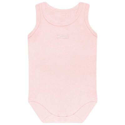 Imagem 1 do produto Body regata para bebe Rosa em algodão egípcio c/ jato de cerâmica e filtro solar fps 50 - Mini & Kids - BRT196 BODY REGATA SUEDINE ROSA BB-RN