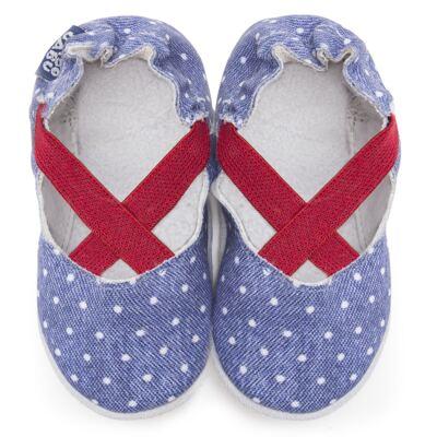 Imagem 1 do produto Sapatilha para bebe em couro Eco Mary Jane - Babo Uabu - BABO37 Sapatilha Mary Jane Jeans Poá Pink-6-12 meses