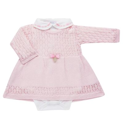 Imagem 2 do produto Jogo Maternidade para bebê: Body longo + Calça + Vestido + Manta em tricot Annie - Beth Bebê