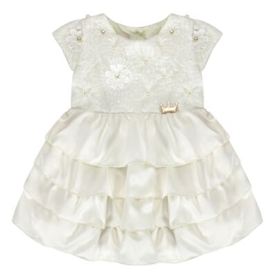 Imagem 1 do produto Vestido para bebe em renda e cetim Valentina - Miss Sweet - SW1037 Vestido Gripper Baby Marfim-2