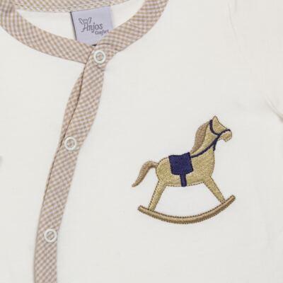 Imagem 2 do produto Macacão longo para bebe em suedine Little Horse - Anjos Baby - AB1658029 MACACAO LONGO LISO MASC -M