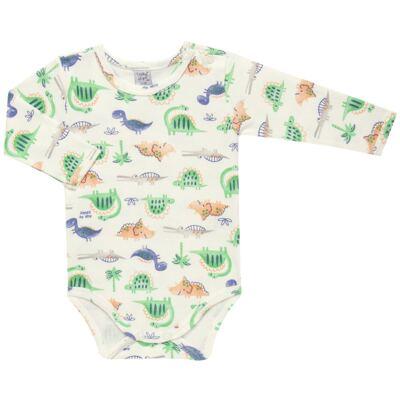 Imagem 1 do produto Body longo para bebe em suedine Dinossauros - Vicky Lipe - 03120001.34 BODY M/L - SUEDINE-G