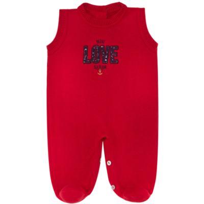 Imagem 2 do produto Jardineira com Body longo para bebe em tricot Love Sailor - Mini Sailor - 17354443 Jardineira Longa c/ Body Tricot Vermelho-0-3