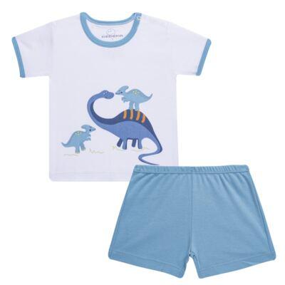 Imagem 1 do produto Pijama curto para bebe em suedine Dino - Dedeka - DDK17123/L44 Pijama Ribana Azul Sereno-G