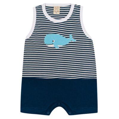 Imagem 1 do produto Macacão regata para bebe Baleinha - Pingo Lelê - PL65850.MR MACACÃO REGATA MARINHO LISTRA-GG