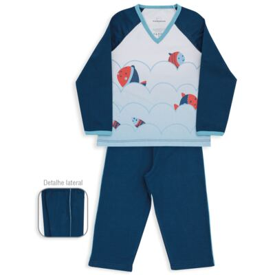 Imagem 1 do produto Pijama longo para bebe em suedine Little Fish - Dedeka - DDK18204/L08 PIJAMA MEIA MARINHO -2