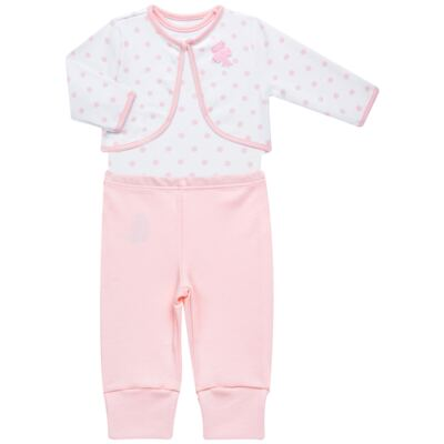Imagem 1 do produto Conjunto Pagão Princess: Casaco + Body curto + Calça para bebe em algodão egípcio - Bibe - 39F18-G79 CONJ PAGAO POÁ-RN