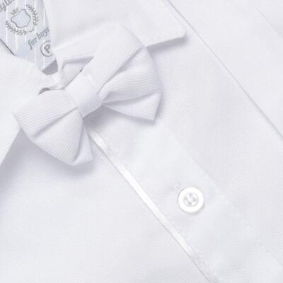 Imagem 2 do produto Jardineira Gravata e Boné para bebe em tricoline Branca - Sylvaz - SZ361 CONJUNTO CURTO C/ GRAVATA BORBOLETA E CHAPÉU BRANCO-M