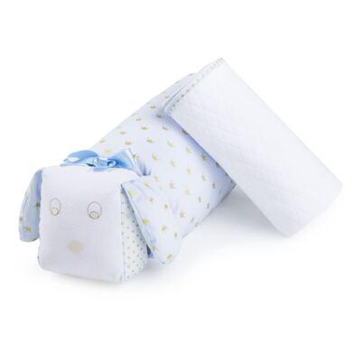 Imagem 1 do produto Kit: Travesseiro + Manta em malha Coroa Azul - Just Baby