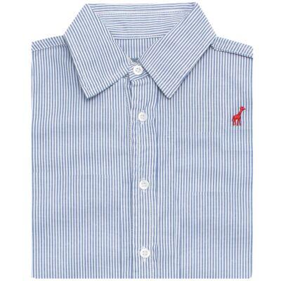 Imagem 2 do produto Camisa para bebe em tricoline listrado azul - Toffee - 1214C89660 CAMISA ML TECIDO AZ-6-9