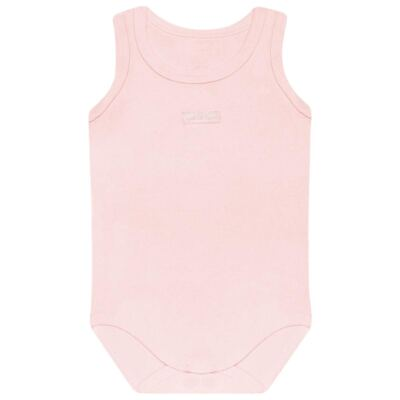 Imagem 1 do produto Body regata para bebe Rosa em algodão egípcio c/ jato de cerâmica e filtro solar fps 50 - Mini & Kids - BRT196 BODY REGATA SUEDINE ROSA BB-GG