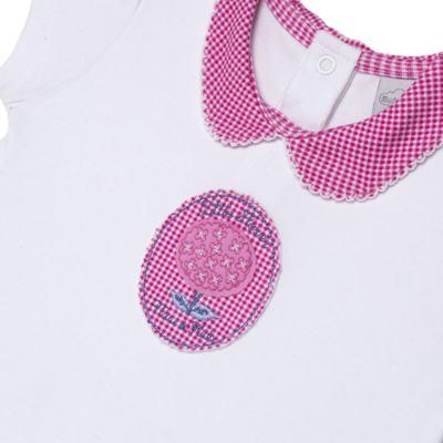Imagem 2 do produto Macacão curto com golinha para bebe em algodão egípcio c/ jato de cerâmica e filtro solar fps 50 L'Hortensia - Mini & Kids - MCCG1746 MACACÃO M/C C/ GOLA SUEDINE HORTÊNCIAS-G