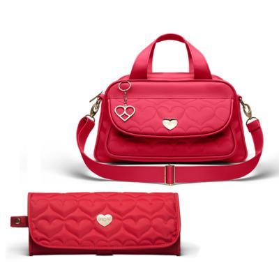 Imagem 1 do produto Bolsa Térmica para bebe Valência + Trocador Portátil Corações Matelassê Vermelho- Classic for Baby Bags