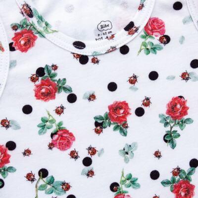 Imagem 3 do produto Regata com Cobre Fralda para bebe em algodão egípcio Ladybug - Bibe - 38G02-G45 CJ Curto Regata c/ Cobre Fralda Floral-P