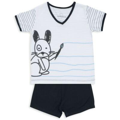 Imagem 1 do produto Pijama curto para bebe em malha Puppy - Dedeka - DDK18118/E215 PIJAMA MODAL/LISTRADO -G