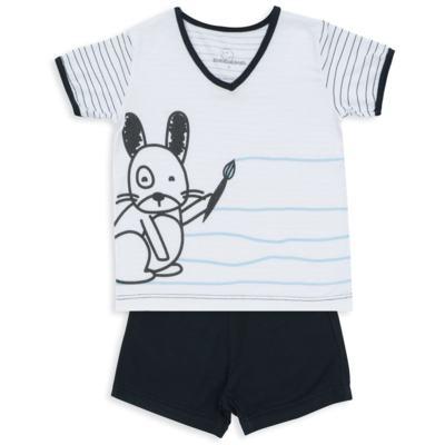 Imagem 1 do produto Pijama curto para bebe em malha Puppy - Dedeka - DDK18118/E215 PIJAMA MODAL/LISTRADO -GG