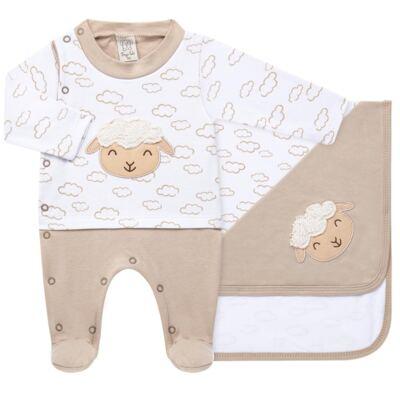 Imagem 1 do produto Jogo Maternidade com Macacão e Manta para bebe em malha Ovelhinha - Pingo Lelê - PL65721 KIT PRESENTE MACACAO E MANTA OVELINHA-RN