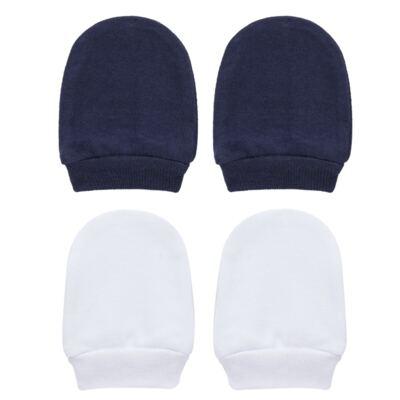 Imagem 1 do produto Kit 2 Pares de luvas em suedine Branco/Marinho - Tilly Baby - TB13118.05 LUVA 2 PARES SUEDINE MARINHO-P