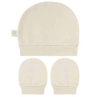 Imagem 1 do produto Kit Touca e Luva para bebe em suedine Bege - Tilly Baby - TB13114.02 GORRO E LUVA EM SUEDINE BEGE-P