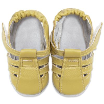 Imagem 2 do produto Sandália para bebe c/ velcro em couro Eco Amarelo - Babo Uabu - BABO39 Sandalia Tiras Amarela-12-18 meses