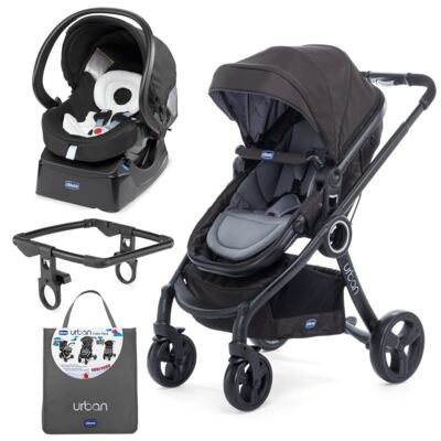Imagem 1 do produto Urban Travel System: Carrinho Urban Plus + Color Pack Anthracite + Adaptador + Poltrona Auto Fix Fast Black Night - Chicco