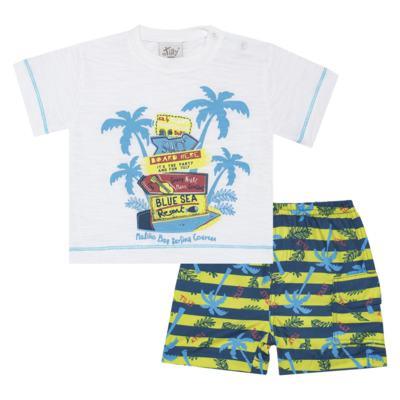 Imagem 1 do produto Camiseta c/ Bermuda em malha Maverick - Tilly Baby - TB166303 CONJ MASC TACTEL COQUEIROS-1