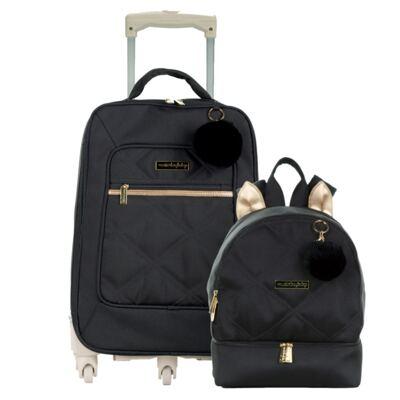 Imagem 1 do produto Mala Maternidade com rodízio + Mochila Gatinho Soho Black - Masterbag