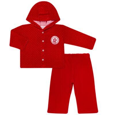 Imagem 1 do produto Casaco c/ capuz e Calça para bebe em plush Ruby - Mini & Kids - CCPZ1051.215 CONJ. BLUSÃO CAPUZ E CALÇA PLUSH VERMELHO-GG